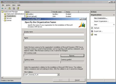 Deployment Manager - New Organization
